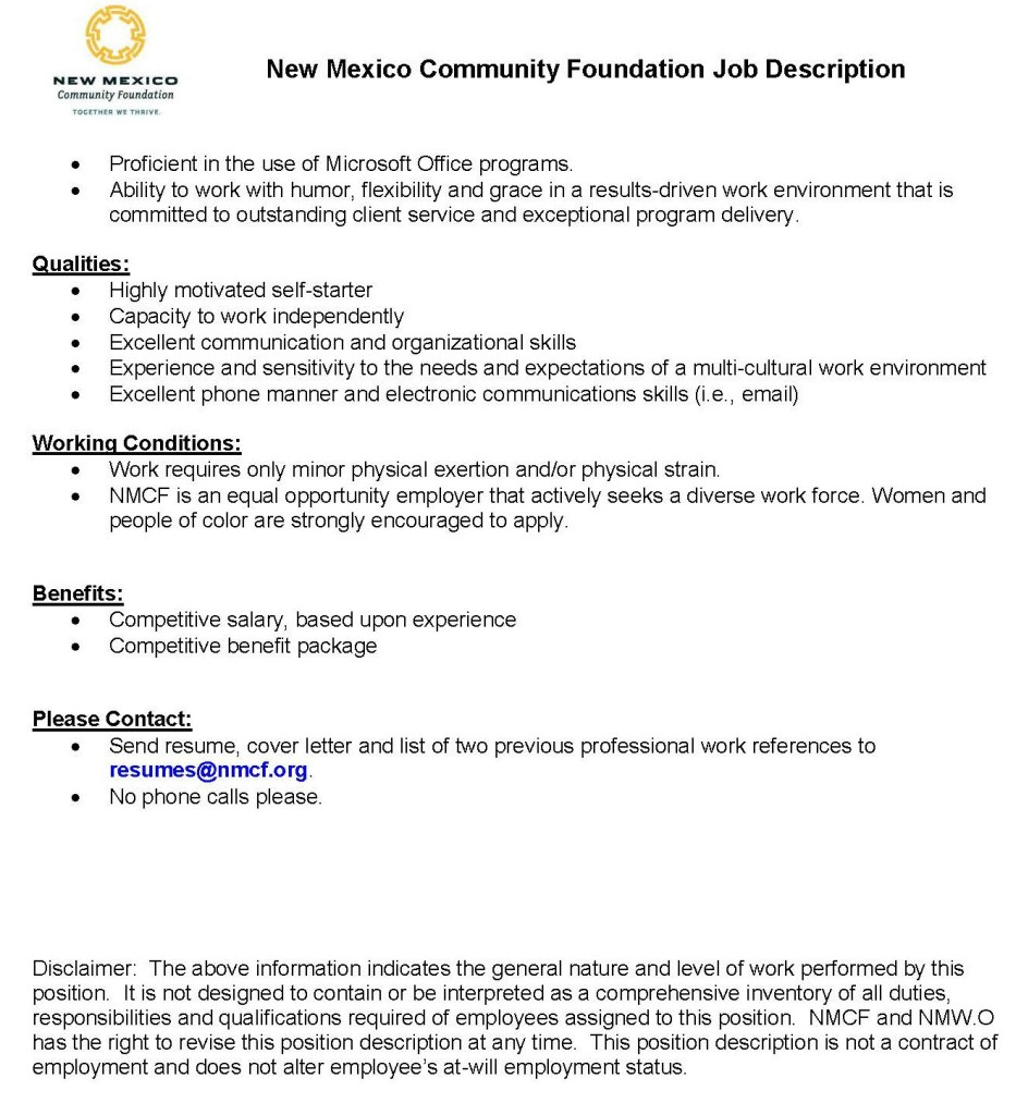 new community foundation and new women org are hiring of two previous professional work references to resumes nmcf org by 14 2016 no phone calls please full details of the job description are below